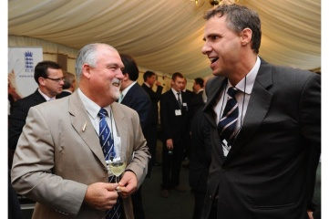 Philip French (right) with Mike Gatting (lef (Photo Credit: England and Wales Cricket Board)