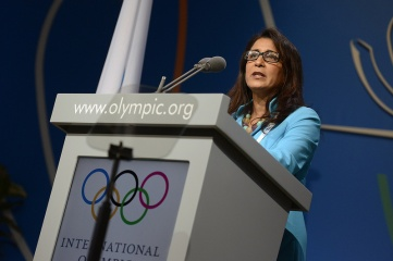 Nawal El Moutawakel, chair of the IOC Coordination Commission speaking at the 125th IOC Session