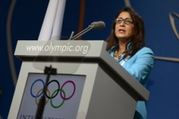 Nawal El Moutawakel, chair of the IOC Coordination Commission speaking at the 125th IOC Session (Photo copyright: IOC / Juillart)