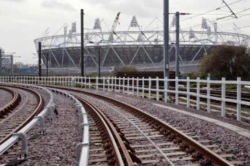railway tracks in front of stadium