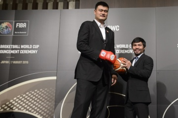 Yao Ming and Manny Pacquiao at the 2019 FIBA Basketball World Cup Host Announcement Ceremony